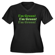 I'm Green! Women's Plus Size V-Neck Eco T-Shirt
