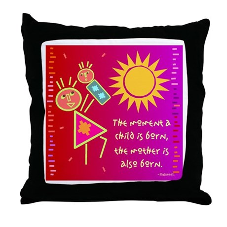 A Mother is Born Throw Pillow