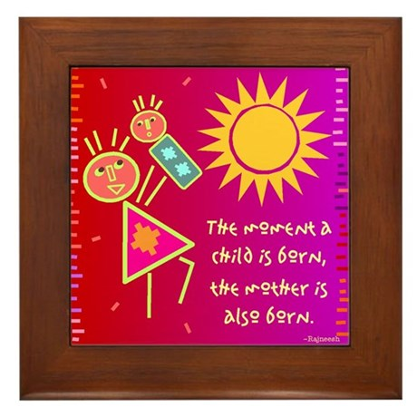A Mother is Born Framed Tile