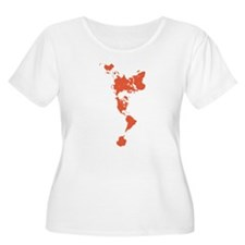 New Perspectives World Map - Red Plus Size T-Shirt