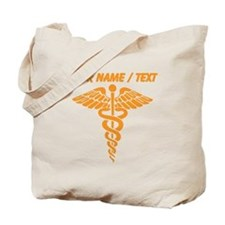 Custom Orange Medical Caduceus Tote Bag