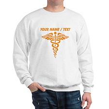Custom Orange Medical Caduceus Sweatshirt