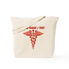 Custom Red Medical Caduceus Tote Bag