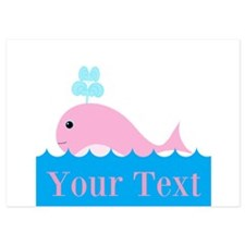 Personalizable Pink Whale Invitations
