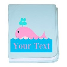 Personalizable Pink Whale baby blanket