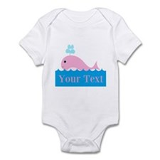 Personalizable Pink Whale Body Suit