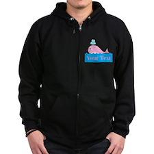 Personalizable Pink Whale Zip Hoodie