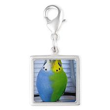 Parakeet Silver Square Charm