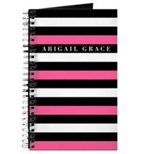 Pink Black White Bold Striped Pattern Journal