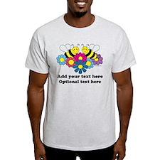 Bees & Flowers Design Illustration T-Shirt