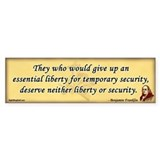 Ben Franklin - Essential Liberty Bumper Bumper Sticker