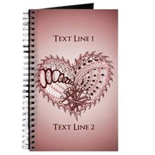 Personalized Red Heart Original Art Journal