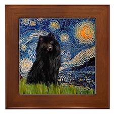 Starry Night Schipperke Framed Tile