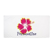 Personalize hibiscus Flower Beach Towel