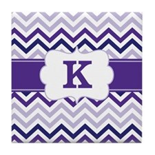 Purple Chevron Monogram Tile Coaster