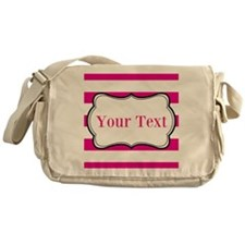 Personalizable Hot Pink and White Messenger Bag