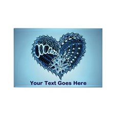 Decorative Heart Blue Rectangle Magnet (100 pack)