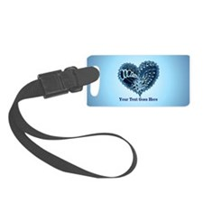 Decorative Heart Blue Customizab Luggage Tag
