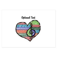 Personalized Music Doodle Hea 3.5 x 5 Flat Cards