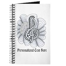 Personalizable Black/White Music Treble Clef Journ