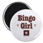 Bingo Girl Pink Star Center Square Magnet 10 pk
