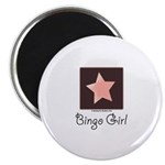 Bingo Girl Brown Center Square Pink Star Magnet