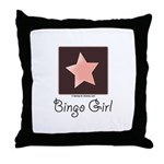 Bingo Girl Brown Center Square Pink Star Pillow