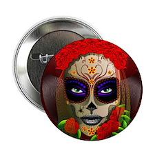 """Skull Girl Dia de los Muertos 2.25"""" Button"""