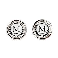 Custom Initial Logo Monogrammed Round Cufflinks