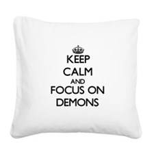 Cute Keep calm carry on Square Canvas Pillow