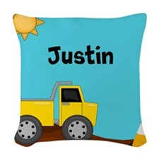Construction Truck Personalized Woven Throw Pillow