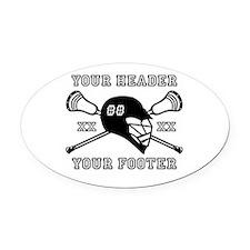 Lacrosse Team Black Alpha Oval Car Magnet