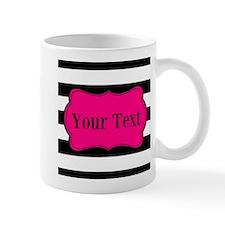 Personalizable Pink Black Striped Mugs