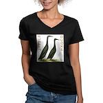 Black Runners Women's V-Neck Dark T-Shirt