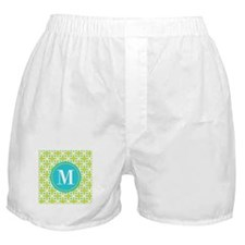 Monogram Cross Pattern Lime and Turquoise Boxer Sh