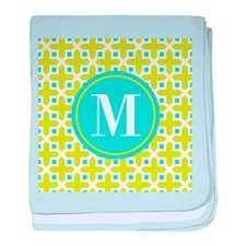 Monogram Cross Pattern Lime and Turquoise baby bla