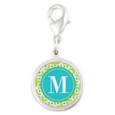 Monogram Cross Pattern Lime and Turquoise Charms