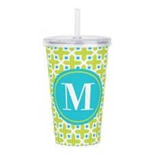 Monogram Cross Pattern Lime and Turquoise Acrylic