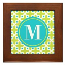 Monogram Cross Pattern Lime and Turquoise Framed T