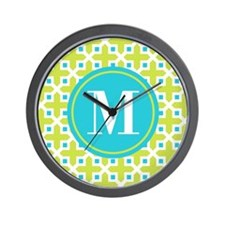 Monogram Cross Pattern Lime and Turquoise Wall Clo