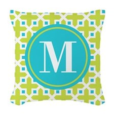 Monogram Cross Pattern Lime and Turquoise Woven Th