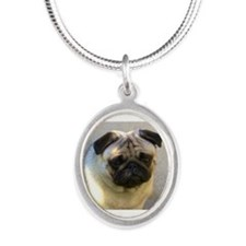 Pug headstudy Silver Oval Necklace
