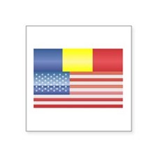 "Funny Blue red yellow Square Sticker 3"" x 3"""