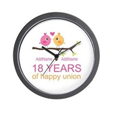 18th Anniversary Persnalized Wall Clock
