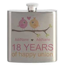 18th Anniversary Persnalized Flask
