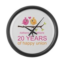 Personalized 20th Anniversary Large Wall Clock