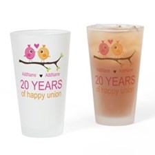 Personalized 20th Anniversary Drinking Glass