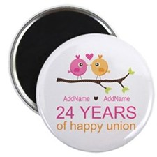 "24th Wedding Anniversary P 2.25"" Magnet (100 pack)"