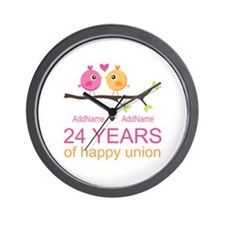24th Wedding Anniversary Personalized Wall Clock