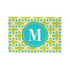 Monogram Cross Pattern Lime and Turquoise Magnets
